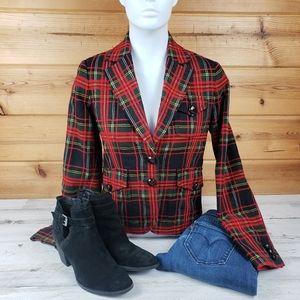 J.Crew tartan plaid blazer jacket red preppy coat